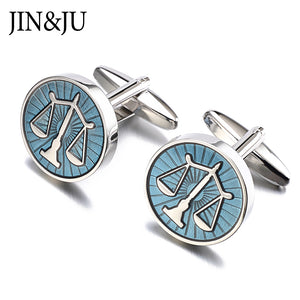 JIN&JU High Quality Libra Scales Cufflinks Round Balance Cuff Links For Mens Shirt Studs Gift Lawyer Relojes Gemelos