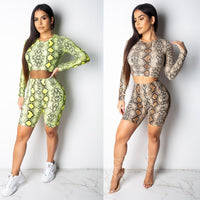 Sexy casual outfits tracksuit women long sleeve tops knee length pants print hollow out two piece set ensemble femme dos piezas