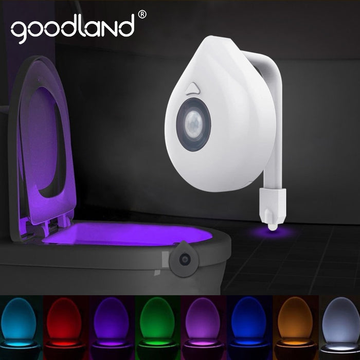 Goodland LED Toilet Light PIR Motion Sensor Night Lamp 8 Colors Backlight WC Toilet