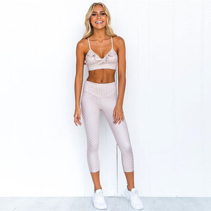 Striped Printed Women Sport Suit Sexy Yoga Set Padded Sports Bra High Waist Yoga Leggings Fitness Gym Clothing Running Wear 2019