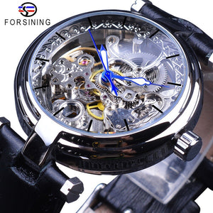 Forsining Fashion Silver Movement Skeleton Watches Blue Luminous Hands Leather Men's Mechanical Wristwatch Waterproof Male Clock