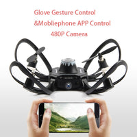 Glove Control Gesture Sensing Mini Drone Foldable RC Helicopter Aircraft One Key Return