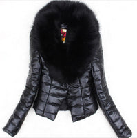 Women 2019 Big Fur Collar Women PU Leather Jacket Winter Plus Size 3XL Autumn Cotton Coat Slim Down Jacket