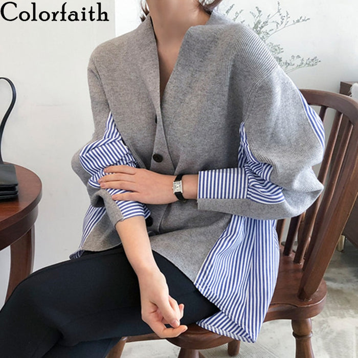 Colorfaith New 2019 Autumn Women's Sweaters Patchwork Srtiped Knitting V-Neck Cardigans