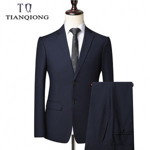 TIAN QIONG Men Suit 2019 Latest Coat Pant Designs Brand-clothing Luxury Mens Suits Wedding Groom Black Gray Mens Formal Wear