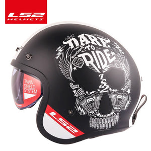 LS2 Spitfire motorcycle Vintage helmet Open face fashion design retro jet half helmet LS2 OF599 casque moto with bubble buckles