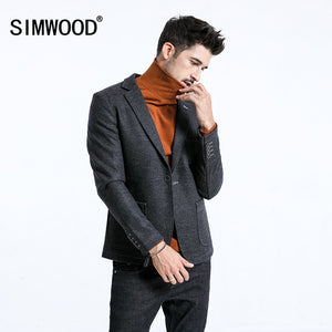 SIMWOOD 2019 Winter Smart Casual Blazers Men Single Button Mix Wool Jacket Fashion High Quality Coats Male Suits Clothes 180389