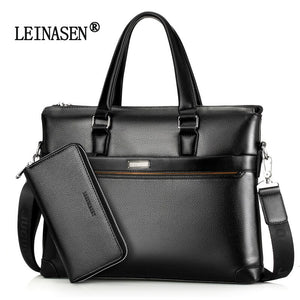Men Business Briefcase Crazy Horse Genuine Leather Shoulder Portfolio Laptop Bag Fashion Document Bag Cow Leather Office Handbag