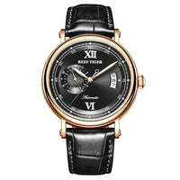 Reef Tiger/RT 2019 New Design Top Brand Luxury Casual Watch for Men Brown Leather Strap Rose Gold