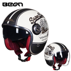 The latest release BEON retro motorcycle helmet 3/4 open face  helmet double lens half helmet capacete chopper helmet