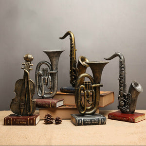Retro Musical Instrument Decoration Creative American Coffee Bar Home Shop Decorations Wine Cabinet Musical Instrument Model