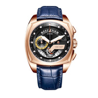 Reef Tiger/RT Mens Sport Watches Luxury Rose Gold Waterproof Military Watches Genuine Leather
