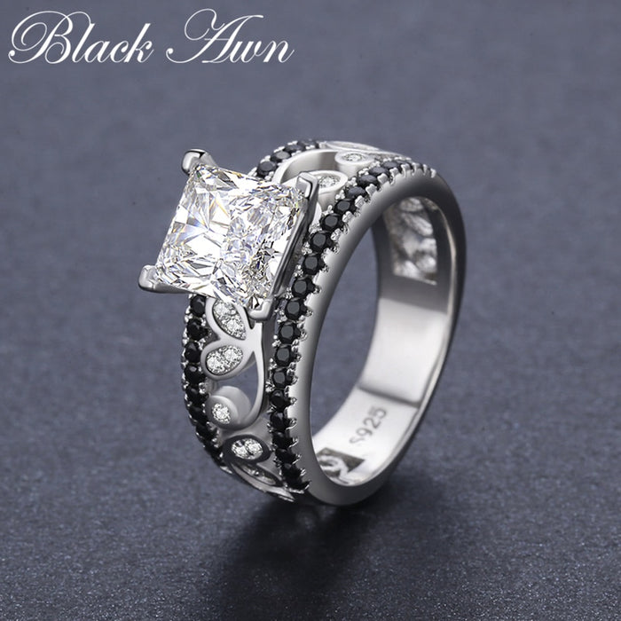 New Arrival Authentic 925 Sterling Silver Women Rings White/Black Zirconia 925 Silver Rings