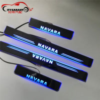 LED CAR DOOR SILL PLATE LIGHTS WELCOME LIGHT entry guards cover FIT FOR NISSAN NAVARA NP300 D23 2015-2018 4*4 AUTO ACCESSORIES