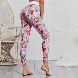 Female Yoga Set Ensemble Cute Cartoon Workout Tracksuit Sexy Gym Wear Running Clothing Fitness Set Women Sportswear Sport Suit