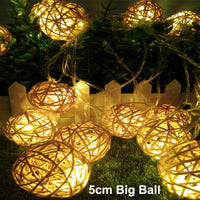 New 5cm rattan ball led string lights 20leds 5m christmas lights indoor outdoor decoration fairy lights wedding party decoration