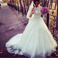 2019 Modest A Line Wedding Dresses Sheer Jewel Neck Lace Top Puffy Tulle Waist with Sash Country Style Chic Bridal Wedding Gown