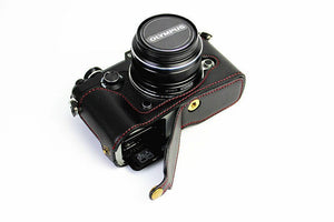 Half PU leather case bag grip cover Buttom for Olympus PEN-F