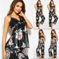 Pajamas For Women Sexy Sets Sleeveless V-Neck Top Long Pants Sleepwear Ladies Casual