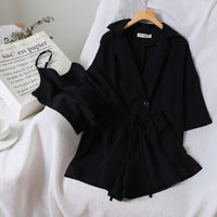 2019 Chic Vest +Jacket +simple Pure Color Elastic Waist Shorts Three-piece Suit 3 Piece Outfits for Women summer clothes