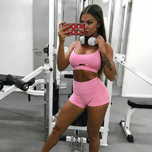 Pink Yoga Sets Women Gym Clothes Hollow Out Sexy 2018 Gym Elastic Running Suit Fitness Clothing Workout Sport Wear Bra+Pant