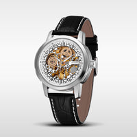 OUYAWEI Relogio Masculino Leather Belt Mechanical Men's Watch Carving Skeleton Steampunk Dial Male Clock Automatic Wristwatch