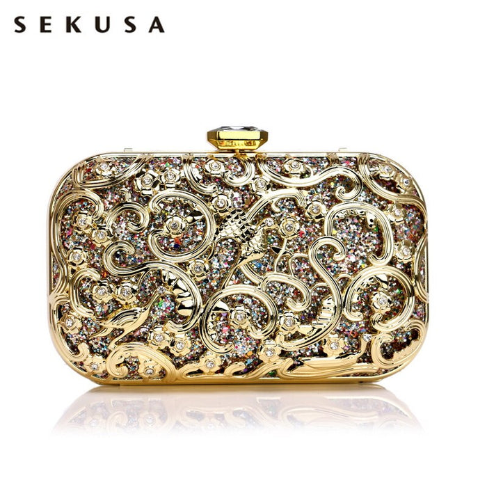 SEKUSA Hollow Out Style Women Evening Bags Sequined Wedding Party Clutches Small