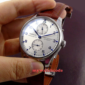 43mm parnis silver white dial power reserve Luxury Brand Genuine Leather deployment clasp