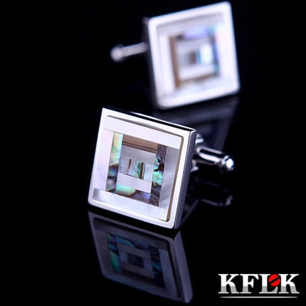 KFLK Luxury 2019 shirt cufflinks for mens gift Brand cuff buttons Color Shell cuff link