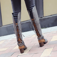 New Women Boots Autumn Winter Women Knee High Boots Casual Vintage Leather Lace Up Riding Boots low Heel Boots Plus Size 34-47