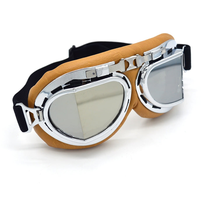 Evomosa Silver Lens Retro Motorcycle Goggles Motocross Moto Cross Glasses Country Flexible