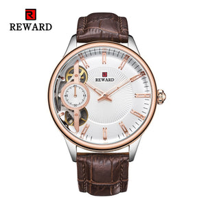 REWARD Military Business Elegant Men Watch Top Quality Luxury Automatic Mechanical Watches Clock Leather Band  Watch JD-RD63091M