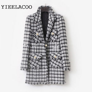 Black/White Plaid Tweed Jacket 2019 Autumn/Winter Women's Jacket Lapel Slim Mid-length Small Fragrance Jacket
