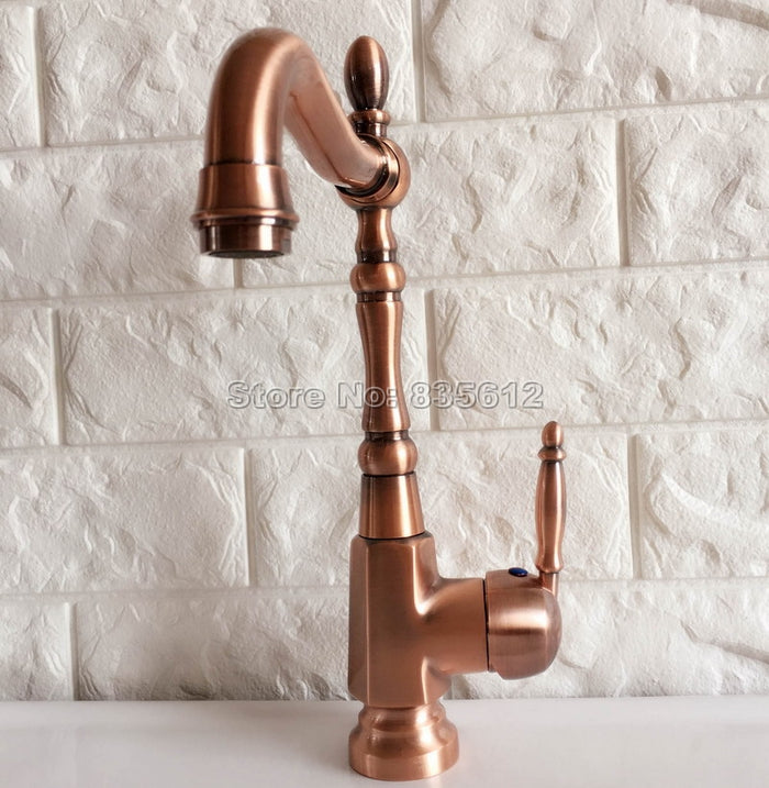 Antique Red Copper Single Handle Bathroom Faucet Kitchen Sink Mixer Washbasin Tap Cold and Hot
