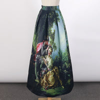 2017 Princess Royal Vintage Retro Long Skirts Oil Painting High Waist 100cm Ball Gown Floor Leng Maxi Skirt Saia Femininas SP007 (as picture One Size)