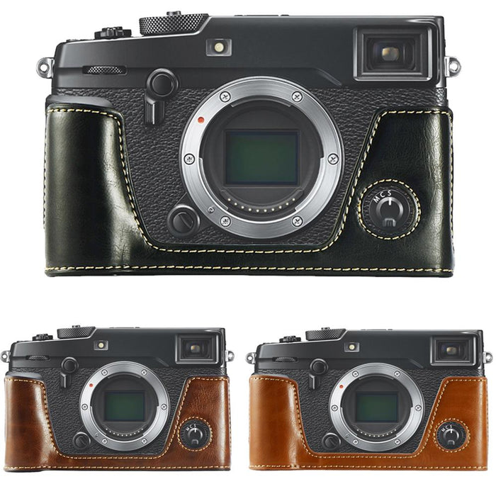 Half Body  PU Leather Camera Case Bag For Fujifilm Fuji X-Pro2  XPro 2 Cover With Battery Opening