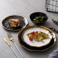 European Style Ceramic Gold Side White Black Plate Tableware Porcelain Steak Dish Dessert Tray Kitchen Dinner Plates Set