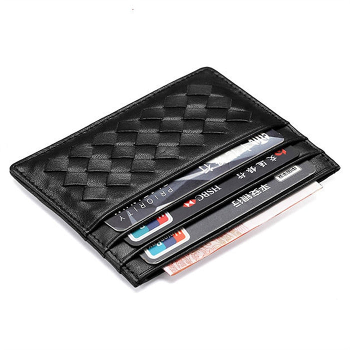 Men Weave Genuine Leather Bank Card Case Thin Mini Card Wallet Man Business ID Credit
