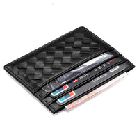 Men Weave Genuine Leather Bank Card Case Thin Mini Card Wallet Man Business ID Credit Cards Holder Cards Pack Cash Pocket Woman