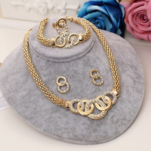 Rose Gold Color Crystal Necklace Earring Bracelet Ring Set Rhinestone New Simple Party Dress Jewelry Sets For Women Jewelry Sets
