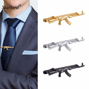 Starlord 3PCS 1 Set Tie Clips AK47 Rifle Design For Men Gold/Silver/Black Color Tie Bar Rifle Tie Clip Gift For Men 3TC2952