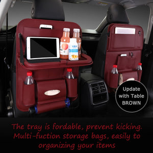 vanzlife car seat back organizing bag multi-functional table storage bag interior decoration used for IPad bottle tissue