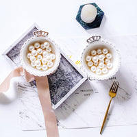 1PCS Ceramic Crown White Jewelry Dish Golden Snack Dish Rings Diamond Round Bowls Candy Storage Tray Decoration Plates Crafts