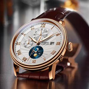 New LOBINNI Switzerland Men Watches Luxury Brand Wristwatches Seagull Automatic Mechanical Clock Sapphire Moon Phase L1023B-1