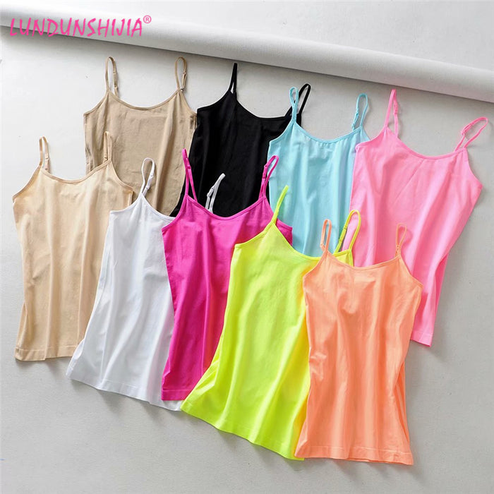 LUNDUNSHIJIA 2019 Summer Women Candy Colors Sexy Elasticity Camisole Sleeveless Backless