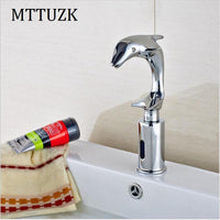 MTTUZK Brass Dolphin faucet  Bathroom Sensor Faucet Deck Mounted Automatic Water Saving Basin Tap DC6V Torneira Free Shipping