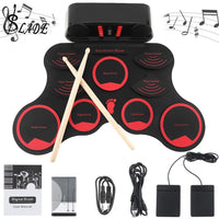 SLADE Portable Roll Up Electronic Drum Set 9 Silicon Pads Built-in Speakers with Drumstick