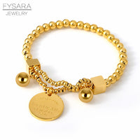 FYSARA Couple 361L Stainless Steel Beaded Bracelets For Women Round Tag Eternal Love Charm Bracelets European Jewelry