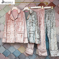 JRMISSLI Autumn Winter Women's Gold Velvet Pajamas Sets Two Piece Pants Sets Noble Home Clothes Warm Nightwear