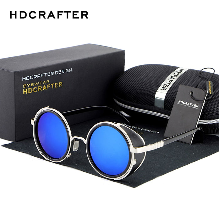 HDCRAFTER Brand Mirror Lens Steampunk Sunglasses New Vintage Retro Sun Glassesen